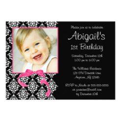 Pink Black Damask Girl Photo 1St Birthday Party Invitation Card