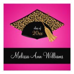 Pink Black Leopard Cap Graduation Announcement Square Invitation Card