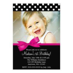 Pink Bow Polka Dots 1St Birthday Girl Photo Invitation Card