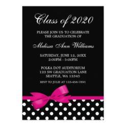 Pink Bow Polka Dots Graduation Announcement Invitation Card