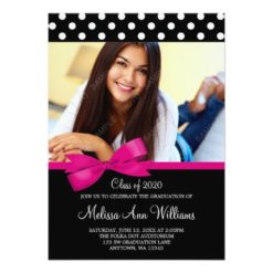Pink Bow Polka Dots Photo Graduation Announcement Invitation Card