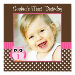 Pink Brown Owl Polka Dot 1St Birthday Girl Photo Square Paper Invitation Card