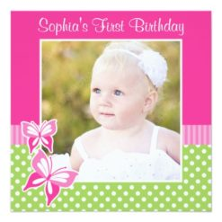 Pink Butterfly Green Polka Dot 1St Birthday Photo Square Paper Invitation Card