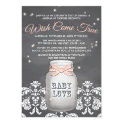 Pink Chalkboard Firefly Mason Jar Baby Shower Invitation Card