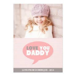 Pink Chevron Love You Daddy   Father'S Day Card Invitation Card