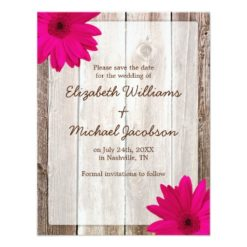Pink Daisy Rustic Barn Save The Date Announcement Invitation Card