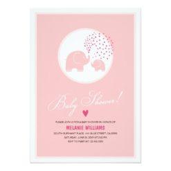 Pink Elephants Hearts Girl Baby Shower Invitation Card