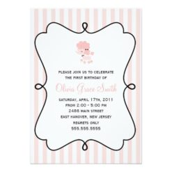 Pink French Poodle Birthday Invitation Card