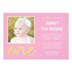 Pink Gold Faux Glitter Photo 1St Birthday Invitation Card