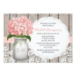 Pink Hydrangea Monogrammed Mason Jar Bridal Shower Invitation Card