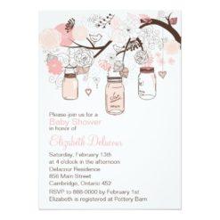 Pink Mason Jars & Lovebirds Baby Shower Invitation Card