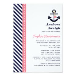 Pink Navy Blue Nautical Bridal Shower Invitation Card
