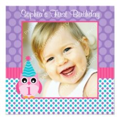 Pink Owl Multi Polka Dot 1St Birthday Girl Photo Square Paper Invitation Card