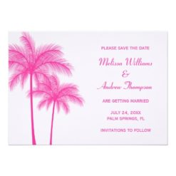 Pink Palm Tree Save The Date Announcement Invitation Card