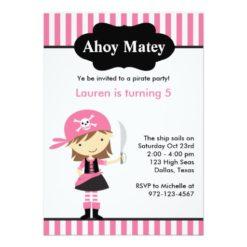 Pink Pirate Girl Birthday Invitation Card