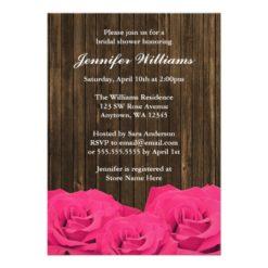 Pink Roses Barn Wood Bridal Shower Invitation Card