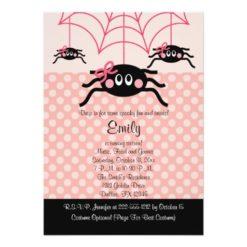 Pink Spider Halloween Birthday Invitation Card