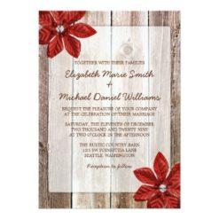 Poinsettia Rustic Barn Wood Wedding Invitation Card