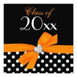 Polka Dot Orange Black Bow Heart Graduation Party Square Paper Invitation Card