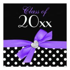 Polka Dot Purple Black Bow Heart Graduation Party Square Paper Invitation Card