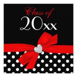 Polka Dot Red Black Bow Heart Graduation Party Square Paper Invitation Card