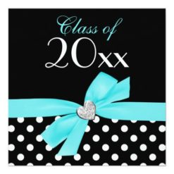 Polka Dot Teal Blue Bow Heart Graduation Party Square Paper Invitation Card