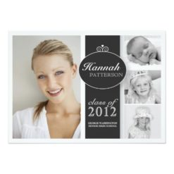 Pretty Girl 4 Photo Black & White Graduation Invitation Card