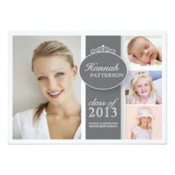 Pretty Girl 4 Photo In Gray Graduation Invitation Card