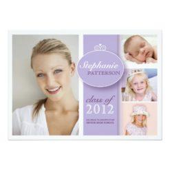 Pretty Girl 4 Photo In Lilac Graduation Invitation Card