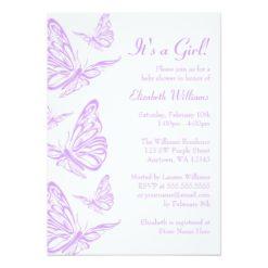 Pretty Purple Butterfly Baby Shower Invitation Card