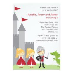 Princess And Knight Birthday Invitation Card
