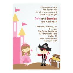 Princess And Pirate Invitation Card