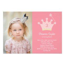 Princess Party Photo Birthday Invitation Card