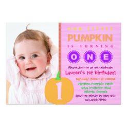 Pumpkin First Birthday Invitation Card