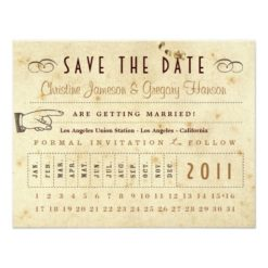 Punch Card Save The Date - Vintage Colors Invitation Card