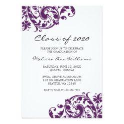 Purple And Black Swirl Graduation Announcement Invitation Card
