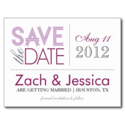 Purple And Gray Modern Typography Save The Date Postcard