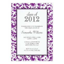 Purple Black Swirl Damask Graduation Announcement Invitation Card