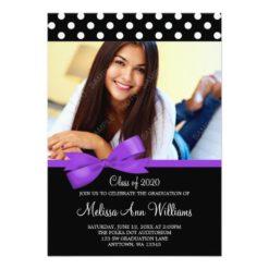 Purple Bow Polka Dot Photo Graduation Announcement Invitation Card