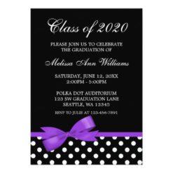 Purple Bow Polka Dots Graduation Announcement Invitation Card