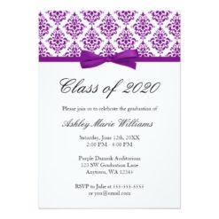 Purple Damask Bow Graduation Announcement Invitation Card
