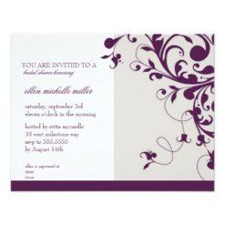 Purple Floral Swirls Bridal Shower Invitation Card