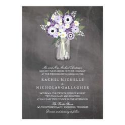Purple Garden Mason Jar Chalkboard   Wedding Invitation Card