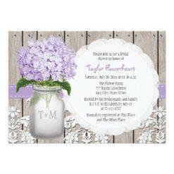 Purple Hydrangea Monogram Mason Jar Bridal Shower Invitation Card