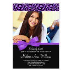 Purple Leopard Bow Photo Graduation Announcement Invitation Card