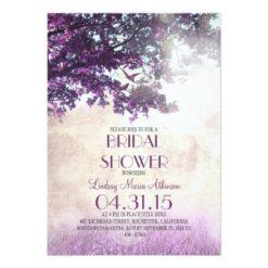 Purple Old Oak Tree & Love Birds Bridal Shower Invitation Card