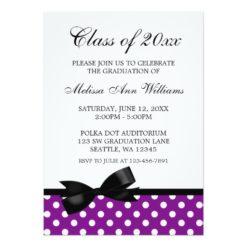 Purple Polka Dot Black Bow Graduation Announcement Invitation Card