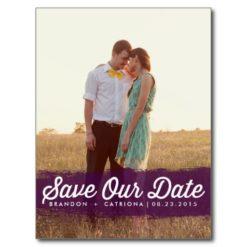Purple Watercolor Splash   Save The Date Postcard