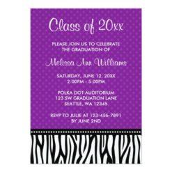 Purple Zebra Polka Graduation Announcement Invitation Card