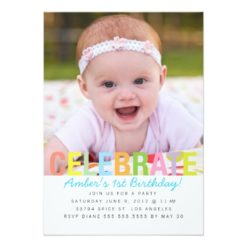 Rainbow Celebrate Birthday Party Invitation Card